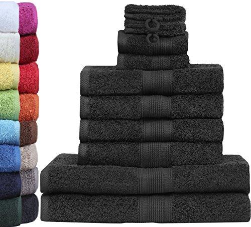 GREEN MARK Textilien 10 TLG. FROTTIER Handtuch-Set mit verschiedenen Größen 4X Handtücher, 2X Duschtücher, 2X Gästetücher, 2X Waschhandschuhe | Farbe: Schwarz | Premium Qualität