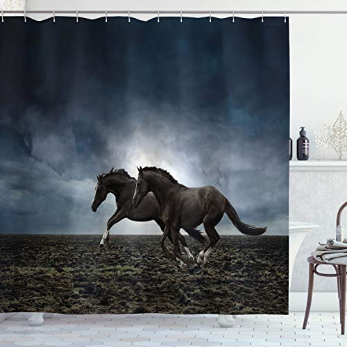 """Ambesonne Horses Shower Curtain, Couple Horses Running on Plowed Field in Stormy Dark Weather Sky Concept, Cloth Fabric Bathroom Decor Set with Hooks, 84"""" Long Extra, Petrol Blue"""