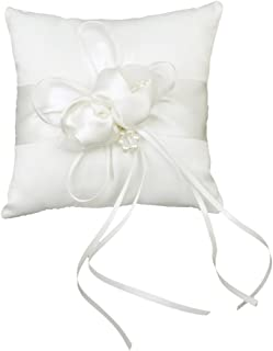 Tinksky 15*15cm Lovely Flower Buds Faux Pearls Decor Bridal Wedding Ceramony Pocket Ring Pillow Cushion Bearer with Ribbons (White)