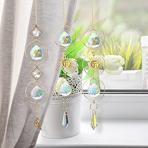 Campanas De Viento De Cristal Atrapasueños, icyant Fabricante Prisma de arcoíris, Estrella...