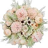 Yyhmkb 2Pcs Artificiale Rosa Seta Ortensie Crisantemo Garofani Mazzi Di Fiori Per Matrimonio, Decorazione Giardino Domestico, Composizioni Floreali Rosa Chiaro