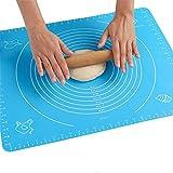 50x40cm Tapis de Cuisson Pâtisserie en Silicone sans Bisphénol-A (BPA) ,Bleu Tapis de pâte à Rouler,Anti-adhésif Réutilisable Baking Mat Fondant Pâte avec Guide de Mesure