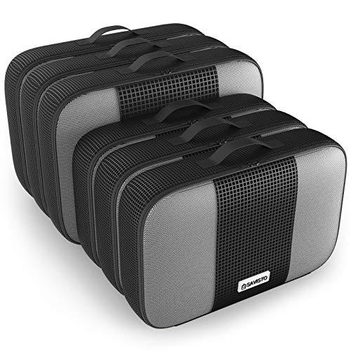 Savisto Packing Cubes, 6-teiliges Packtaschen Set für Urlaub, Reisen, Flugreisen - Ordnungssystem für Koffer, Handgepäck, Trolley, Reisetasche und Rucksack - Packwürfel Groß, XL (6 Pack) - Schwarz