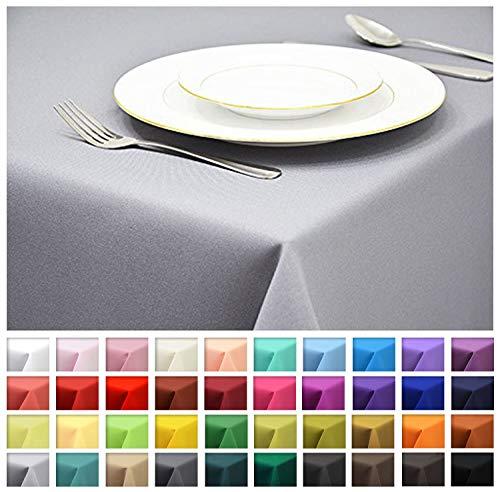 Rollmayer Tischdecke Tischtuch Tischläufer Tischwäsche Gastronomie Kollektion Vivid (Silbergrau 31, 140x240cm) Uni einfarbig pflegeleicht waschbar 40 Farben