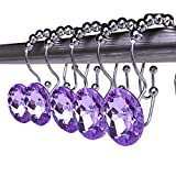 Rustproof Stainless Steel Decorative Shower Curtain Hooks Double Glide Shower Curtain Rings with Acrylic Crystal Rhinestones to Hang Curtain and Liner at Same Time, Set of 12 (Purple)