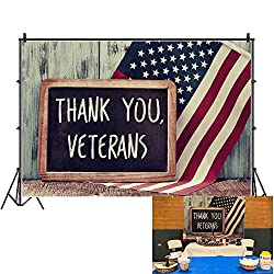 Image: Veterans Day Backdrop 7x5ft American Flags Photos Background Veterans Day Events Decor Speech Background Wood Photo Shoot Freedom Peace Shoots Patriotic Parade Background Props | Brand: OFILA
