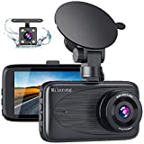 Dual Dash Cam, Milerong 1080P FHD Dash Camera for Cars Front and Rear, 3' 170° Wide Angle Car Camera with Night Vision, G-Sensor, Loop Recording, Parking Monitor, Motion Detection【2020 New Version】