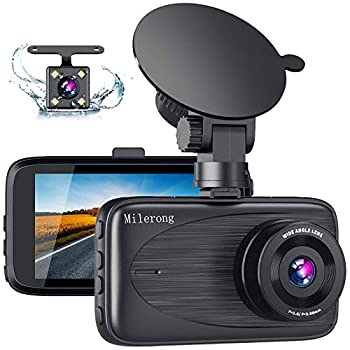 Dash Cam Front and Rear Milerong FHD Dash Camera for Cars Front and Rear 3  170° Wide Angle Car Camera with Night Vision G-Sensor Loop Recording Parking Monitor Motion Detection