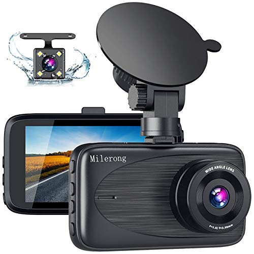 """Dash Cam Front and Rear, Milerong FHD Dash Camera for Cars Front and Rear, 3"""" 170° Wide Angle Car Camera with Night Vision, G-Sensor, Loop Recording, Parking Monitor, Motion Detection"""