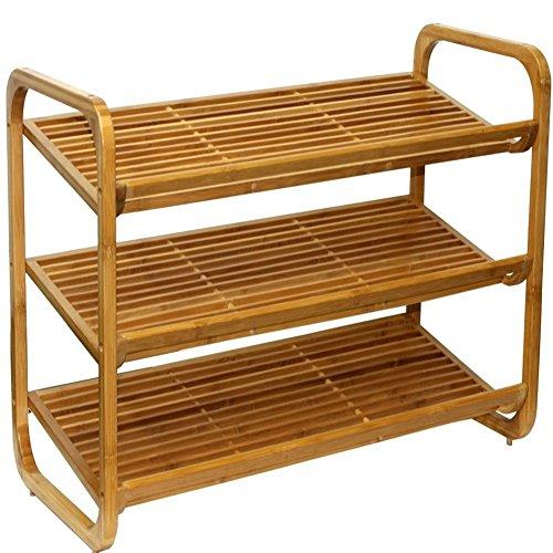 3ripiani scaffale impilabile Shoe Rack legno di bambù scarpe ripiani scarpe Holder Nero