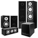 AUNA Black-Line 5.1 Impianto Audio Home Cinema Home Theater 5.1 (Soundsystem 6 Dispositivi, subwoofer attivo, struttura Bassreflex, Attacco Dispositivi Esterni) nero