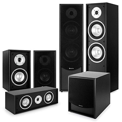 auna Black Line 5.1 Sistema de Sonido HiFi Home Cinema (Altavoces de pie, de estantería, Central, subwoofer con Amplificador) - Negro