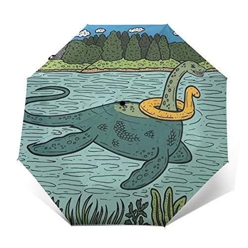 DIDIDI Loch Ness Monster Pool Float Sun Uv Protection Foldable Travel Mini Black Automatic Open Folding Rain Tote Windproof Umbrella for Kids Girls Women Child Boy Male Men