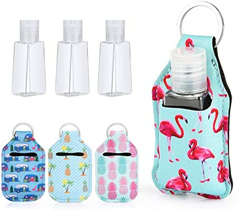 Travel Size Bottle and Keychain Holder Set YSIUENG 4PCS 1oz Refillable Containers with Keyring product image