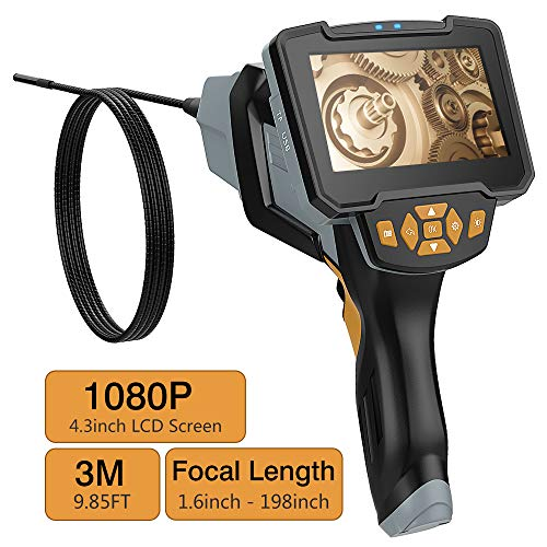 MoKo 4,3 Zoll Full HD Endoskopkamera, 1080P LCD Digitale Hand Industrie Endoskop 3M Halbsteife Snake Tube Inspektionskamera Wasserdicht Videoaufnahme Boreskop für Lüftungsrohr Maschinenausrüstung
