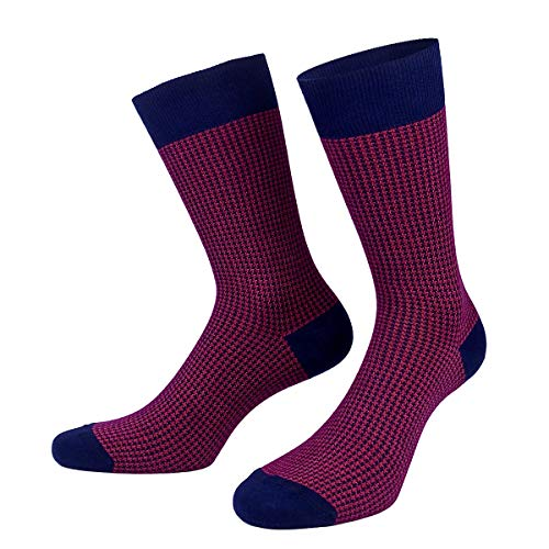 Patron Socks - 1 Paar Italian style Business Socken (Rot Karo, 39-42)