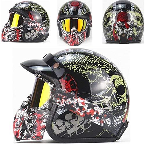 ZHXH Retro Motorrad Harley Halber Helm Erwachsenenpersönlichkeitshelm + Schutzbrille Maske Port Filter Abnehmbarer Punkt Zugelassen Vier Jahreszeiten Männer Allgemein (s, M, L, Xl,)