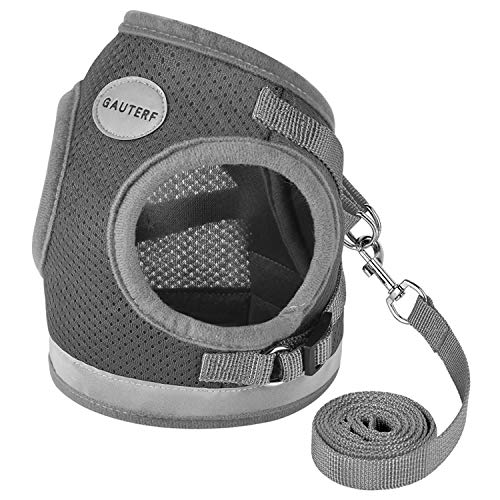 "GAUTERF Dog and Cat Universal Harness with Leash Set, Escape Proof Cat Harnesses - Adjustable Reflective Soft Mesh Corduroy Dog Harnesses - Best Pet Supplies (XL (Chest: 18.5"" - 21""), A-Dark Gray)"