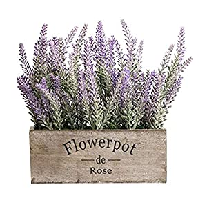 Unionm Lavender Artificial Flowers Pot Bonsai Spring Summer Faux Flower in Potted Floral Arrangement Potted Plants for Wedding Home Office Decoration Gift for Lover Wife Women (1#Coffee)