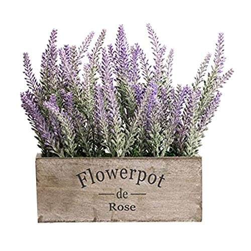 Artificial Lavender Floral Bouquet with Large Wooden Box Pot, Lavender Plants Rustic Home Decor and Beautiful Lifelike Faux Silk Flower, Table Decorations Gifts for Women Men, Indoor, Wedding (A)