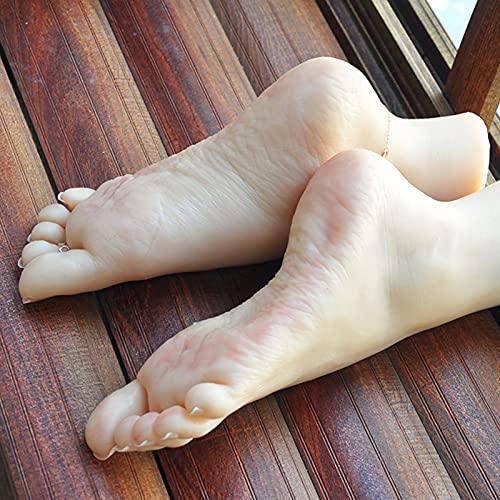 Pies maniquí de silicona, pies de silicona suave, modelo femenino, modelos con uñas, para bocetos artísticos, práctica de arte de uñas, joyas, exhibición de calzado, A2,36