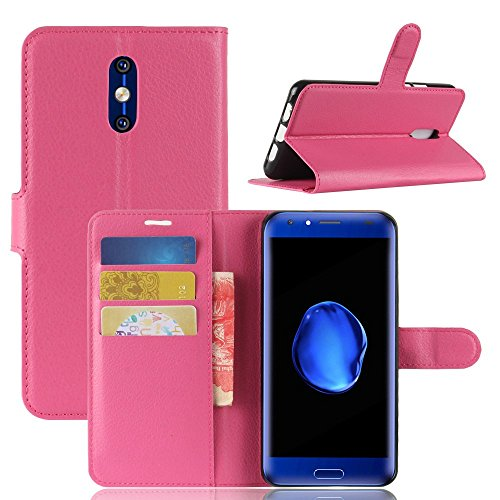 Ycloud Tasche für Doogee BL5000 Hülle, PU Kunstleder Ledertasche Flip Cover Wallet Hülle Handyhülle mit Stand Function Credit Card Slots Bookstyle Purse Design Rose Red