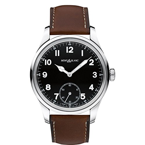 Montblanc Timewalker automatico nero quadrante Brown in pelle mens orologio...