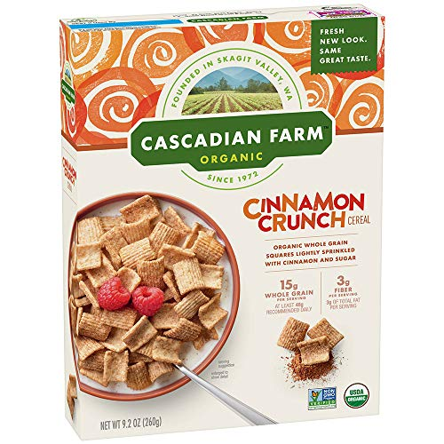 Cascadian Farm Organic Cinnamon Crunch Cereal, Whole Grain Cereal, 9.2 oz