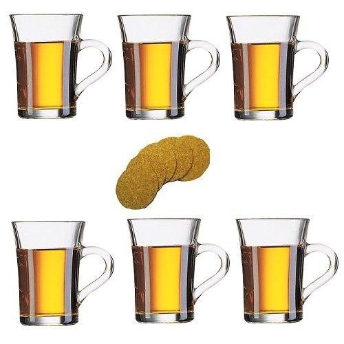 6 dickwandige Glasbecher/Kaffeebecher/Latte Macchiatogläser/Teebecher aus Glas mit Henkel 230ml inkl. 6 Korkuntersetzern