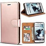 Bozon Huawei P8 Lite 2017 Hülle, Leder Tasche Handyhülle für Huawei P8 Lite (2017) Schutzhülle Flip Wallet mit Ständer & Kartenfächer/Magnetverschluss (Rose Gold)