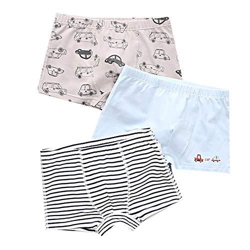 3 Pack Jungen Boxershorts Höschen Baumwolle Slips Kleinkind Kinder Unterwäsche Dinosaurier Autos Streifen Muster Unterhosen 3-12 Jahre