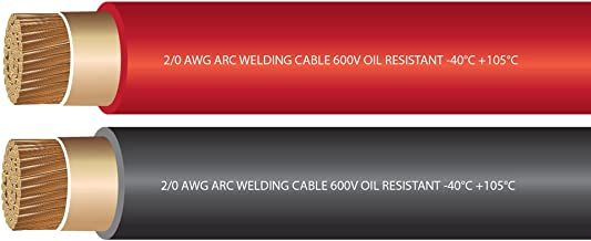 EWCS 2/0 Gauge Premium Extra Flexible Welding Cable 600 Volt - Combo Pack - Black + Red- 10 Feet of Each Color - Made in the USA