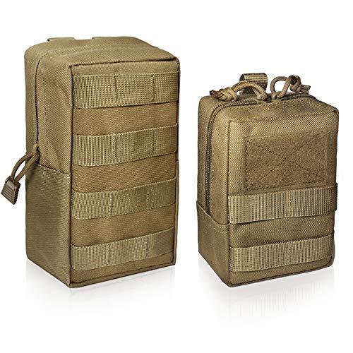 Wynex Lot de 2 Pochettes, Tactique Molle EDC Pochette Utilitaire Compact résistant à l'eau, Organisez Petite Gear Gadget pour Sac à Dos Militaire