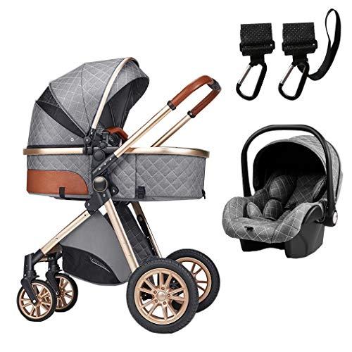 XYSQ Cochecito de bebé plegable 3 en 1, cochecito de bebé de lujo, sistema de viaje portátil para bebés, adecuado para bebés de 0 a 36 meses, con mosquitera y gancho para cochecito (color gris)