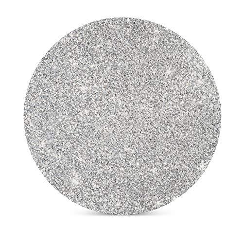 Silberne Glitzer-Stern-Untersetzer für Getränke, Oberflächen-Muster, rund, saugfähig, Keramik-Stein, personalisierte Tassen, Platzsets, Untersetzer-Set mit Korkboden für Heimdekoration