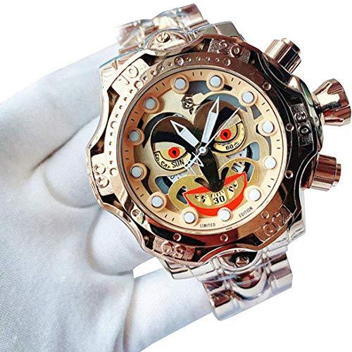 WHCQ Herrenuhr, Multifunktionsherren Alloy Shell-Uhr-Quarz Gold-Joker Dial buntes Armband Watchs,05