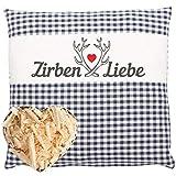 Herbalind Zirbenkissen Zirbenliebe mit Reißverschluss 25x25 cm - Tiroler Zirbenflocken Kopfkissen...
