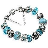 A Te® Bracciale Charms Placcato in Oro Bianco Azzurri Cristalli Beads Blu Vetro #JW-B94