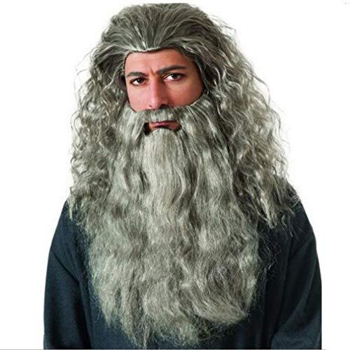 Barba y peluca de mago para disfraces.