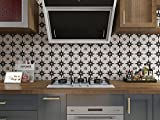 Starry Tile Stickers - Fireplace - Waterproof & Removable - Peel and Stick - Black and White Backsplash vinyle Tile Stickers Kitchen and Bathroom Floor Stair 6X6'/PC 16PC/Pack