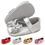 LAFEGEN Baby Girls Mary Jane Flats with Bownot Non Slip Soft Sole PU Leather Newborn Infant Toddler First Walker Cirb Dress Shoes, 0-6 Months Infant,02 Silver Baby Girl Shoes