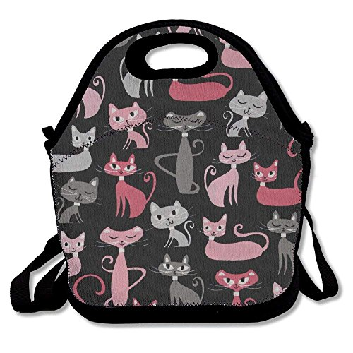 Girls Boys Food Lunch Tote Whiskers Tails Cats Allover Black Waterproof Adults Kids Toddler Nurses With Picnic School Work Portable Reusable Handbag Bags Boxes Lunchbox Outdoor Totes