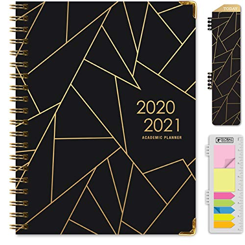 "HARDCOVER Academic Year 2020-2021 Planner: (June 2020 Through July 2021) 8.5""x11"" Daily Weekly Monthly Planner Yearly Agenda. Bonus Bookmark, Pocket Folder and Sticky Note Set (Black Gold Triangles)"