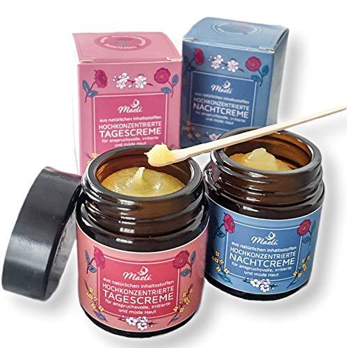 Maeli® Tages- & Nachtcreme Set - vegan, 100% pflanzlich, tierversuchsfrei -Naturkosmetik für intensive Gesichtspflege, je 30ml - verwendbar als Augencreme, Serum &Feuchtigkeitscreme