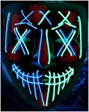 LED Purge Mask Halloween Costume - 3 Modes Scary Light...