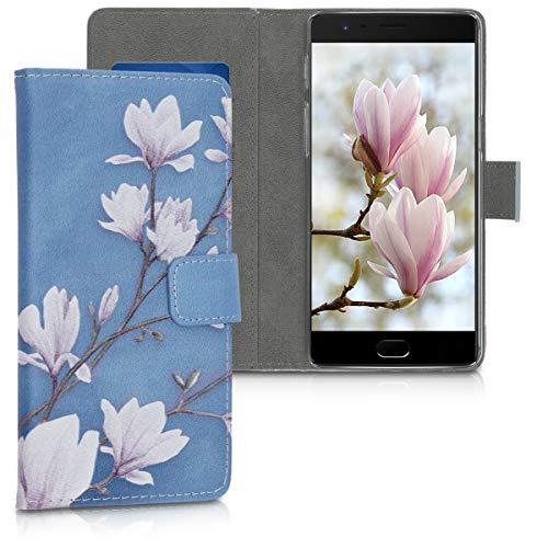 kwmobile Wallet Hülle kompatibel mit OnePlus 3 / 3T - Hülle mit Ständer Kartenfächer Magnolien Taupe Weiß Blaugrau