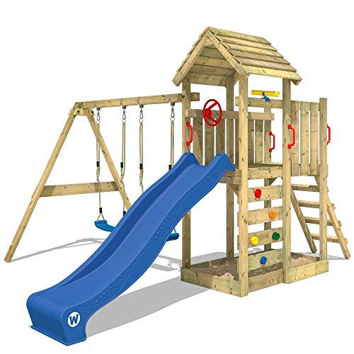 WICKEY Aire de jeux MultiFlyer Portique de jeux avec toit en bois Tour d'escalade jardin avec balançoire, mur d'escalade, toboggan bleu
