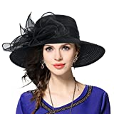 Mujer Derby Church Baptism Dress Tea Party Sombreros de Boda (Negro)