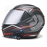 Caschi moto Bluetooth, caschi integrali modulari apribili a doppia visiera, casco approvato DOT, sistema di comunicazione interfono integrato radio Mp3 FM integrato fucsia neon