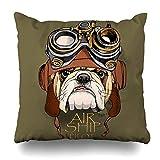Throw Pillow Cover Square Graphic Dog Bulldog Steampunk Helmet Retro Punk Funny Mask Steam Face Doggy Cushion Case Home Decor Pillowcase 18x18 Inches